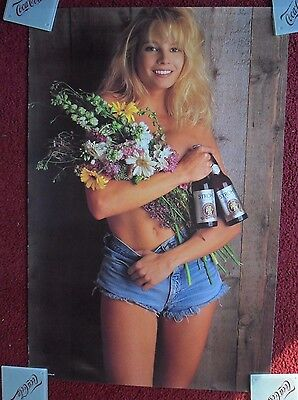 Sexy Girl Beer Poster STROHS Stroh's ~ Topless Blonde Denim Shorts & Wildflowers