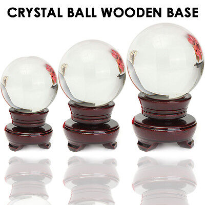 100mm Wooden Stand Crystal Ball Natural Quartz Magic Healing Meditate Sphere