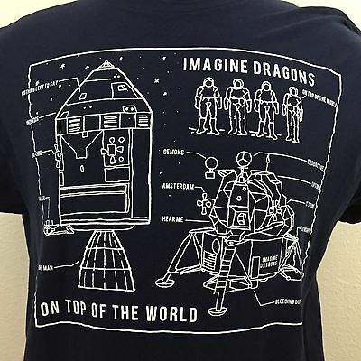Imagine Dragons On Top of The World Rock Band Tour Dark Blue Space T Shirt XL