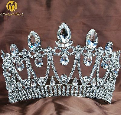 Water Drop Pageant Tiara Crown Clear Crystal Hair Jewelry Wedding Party Costumes