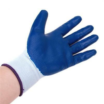 HOT Blue Gloves Anti-static Palm Coated Work Safety Gloves  Builders Gardening C