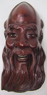 Old Carved Asian Wood Man Exquisite Detailing Eyes Teeth 1A