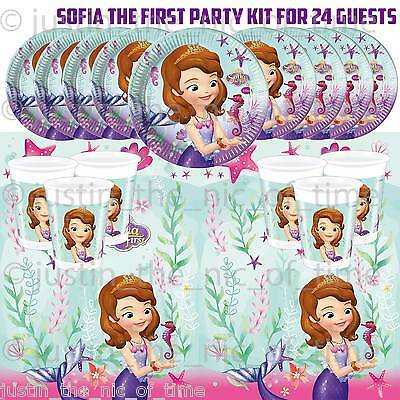 SOFIA THE FIRST 1st Girls Childrens Kid Birthday Party Tableware Kit Pack For 24