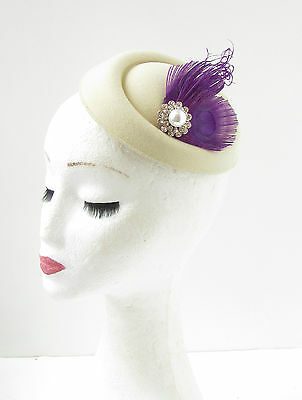 Cream Silver Purple Feather Pearl Pillbox Hat Fascinator Headpiece Races Vtg 313