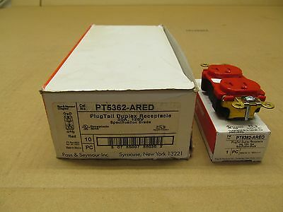 10 Nib Pass & Seymour Pt5362-Ared Pt5362Ared Plugtail Duplex Receptacle 20A 125V