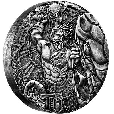 THOR - NORSE GODS - 2016 2 oz Pure Silver High Relief Antique Finish Perth Mint
