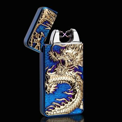 3D Blue Dragon Electric Dual Arc Flameless USB Rechargeable Windproof Lighter