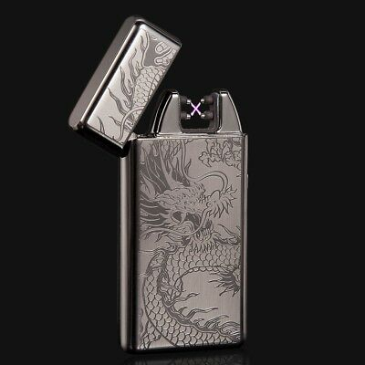 New Black Dragon Electric Dual Arc Flameless USB Rechargeable Windproof Lighter