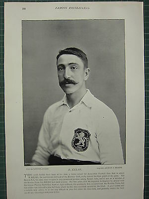 1897 Print Famous Footballers ~ R. Kelso Everton Club