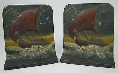 Antique Cast Iron Viking Ship Bookends Dragon Figurehead ornate orig old paint