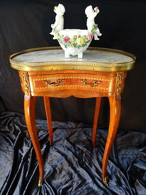 Antique French Louis XVI Style Parquetry Satinwood Marble & Brass Bedside Table