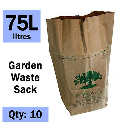 Paper Compostable Garden Waste Sacks - Ecosack 10x 75 L - Paper Liners