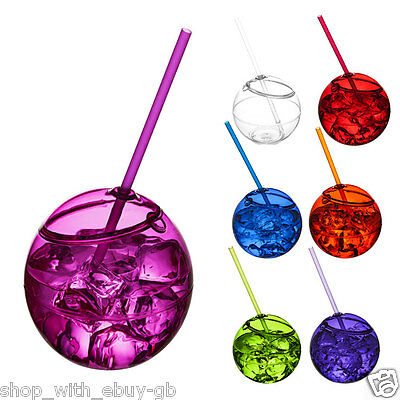 Reusable Plastic Drinks Tumbler With Straw Outdoor Summer Garden BBQ Party Bowl