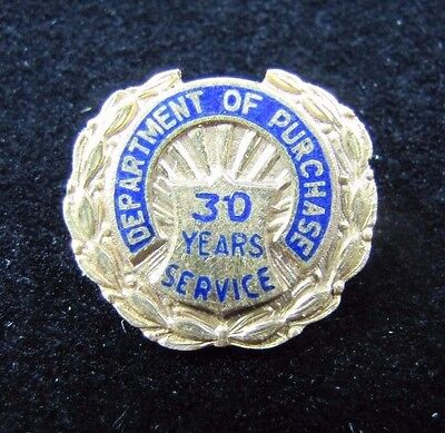 Old Department of Purchase 30 Years Serv 10k Gold Filled Pin Johnson National NY