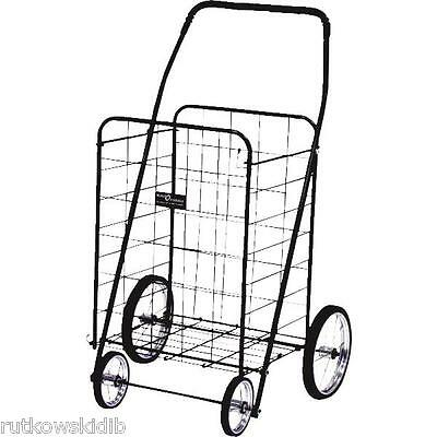 Narita Trading Black Jumbo 150-LB 4-Wheel Folding Shopping Cart
