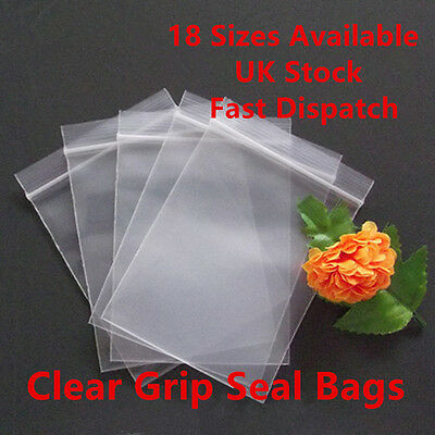 Grip Seal Clear Self Resealable Press Polythene Zip Lock Plastic Bags 18 Sizes