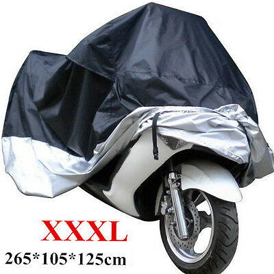 XXXL 190T Polyester Waterproof Motorcycle Cover Case Black Silver Motor Sewing