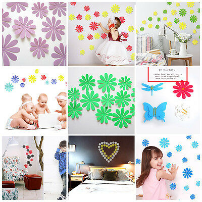 12PCS DIY Creative Acrylic Art Room Decal 3D Flower Wall Stickers Home Decor New