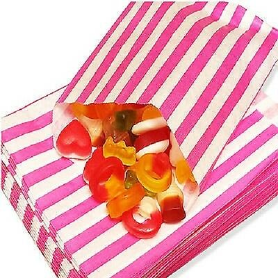 "100 CANDY STRIPE PAPER PICK N MIX SWEET BAG GIFT PARTY BAGS CANDY CART 5"" x 7"""