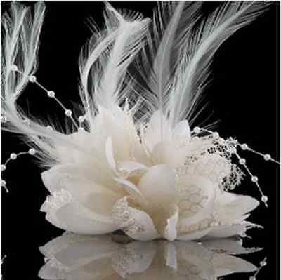 White Flower Feather Fascinator Bridal Bead Corsage Hair Clips Hairband
