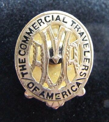 Old Commercial Travelers of America Advertising Screwback Pin cut out detailed