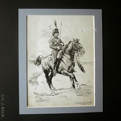 Original 'Pen & Ink' Drawing of a British Yeomanry Officer – L.A.W. Gough. 1896