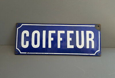 Antique enamel HAIRDRESSER SIGN PLAQUE French Hairstylist haircutter shop