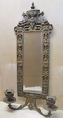 Antique Victorian National Brass & Iron Works Dauphin Mirror Candlesticks NB&IW