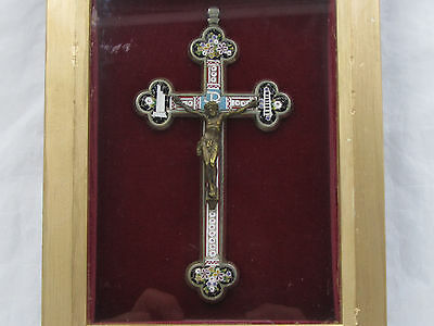 "† Blessed Pope Xi Kissed Touched Antique Micro Mosaic Crucifix 5 7/8"" & Rosary †"