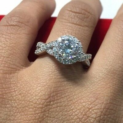 2 CT Round Cut Engagement Ring band set in Solid 14k White Gold Bridal Halo