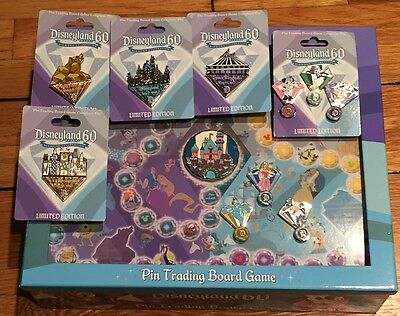Disney Pin Disneyland 60Th Diamond Trading Board Game Set + All 7 Completer Pins