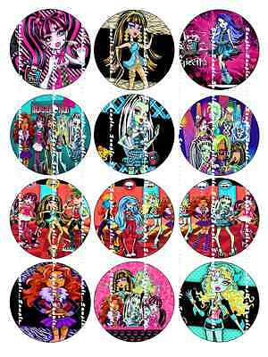 MONSTER HIGH: Edible Cupcake Toppers  FREE SHIPPING in Canada