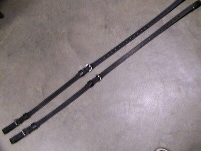 LEATHER LUGGAGE STRAPS for LUGGAGE RACK/CARRIER~(2) STRAP SET~BLACK w/STAINLESS