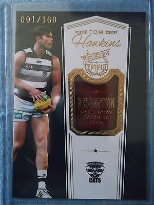 2016 Select Certified Match Worn Guernsey Redemption Card Tom Hawkins Mgr3 #91