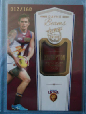 2016 Select Certified Match Worn Guernsey Redemption Card Dayne Beams Mgr1 #12