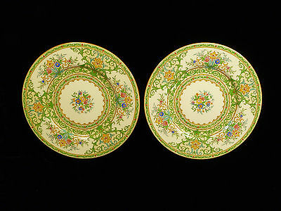 Pair Of Minton Hand Painted Enameled Decorative Cabinet Plates - Circa 1925