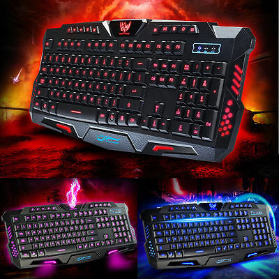 USB Wired 3 Colors Illuminated LED Backlight Multimedia Gaming Keyboard for PC