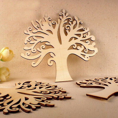 1Pc Creative Wooden Sky Tree Shapes Craft Embellishments Wood Color Decor Craft