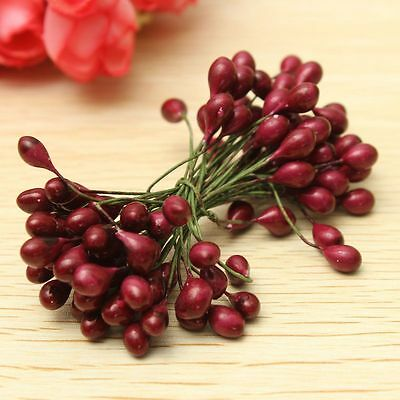100X Artificial Red Holly Berry On Wire Bundle Garland Wreath Making Christmas