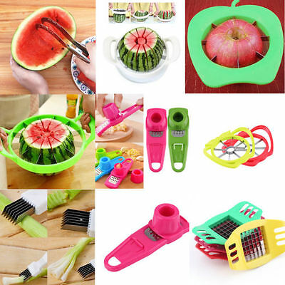 Convenient Watermelon Slicer Fruit Cutter Corer Scoop Stainless Steel Tool NEW M