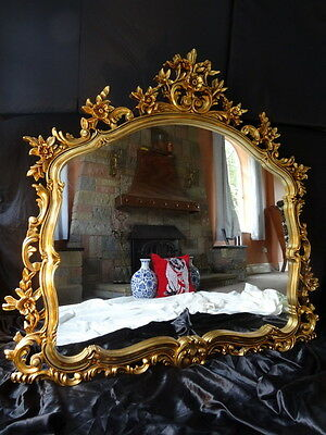 Large Fancy Vintage French Louis XVI Pier Rococo Gilt Gold Arched Wall Mirror