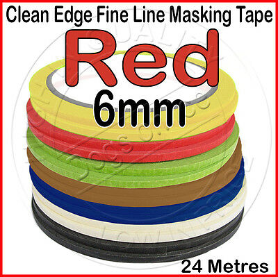 Clean Edge Fine Line Masking Tape 6mm x 24M - RED - Paint Models Nails AW - UK