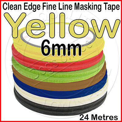 Clean Edge Fine Line Masking Tape 6mm x 24M YELLOW - Paint Models Nails AW - UK