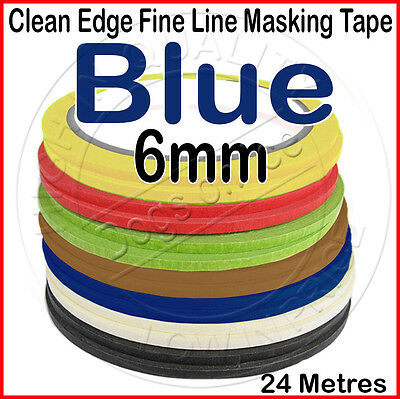 Clean Edge Fine Line Masking Tape 6mm x 24M - BLUE - Paint Models Nails AW - UK