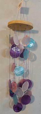 * CAPIZ SHELL MAUVE PINK BLUE WHITE  WIND CHIME**indoor or outdoor** 41CM **