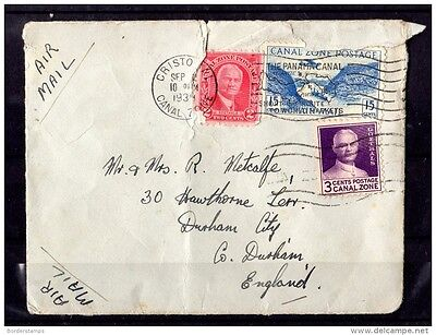 US Canal Zone 1934 Airmail Cover to UK  X797