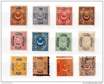 Turkey 19th Century Unchecked Collection of 12 Values X1837