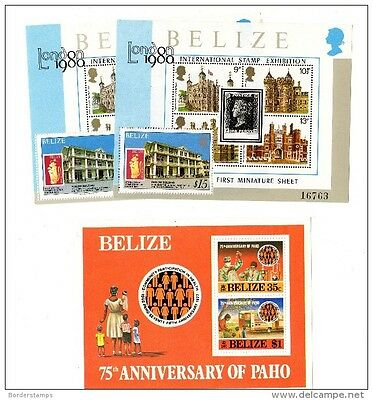 Belize 1980 London Stamp x 2 and PAHO 25th Anniversary m/s MNH X378