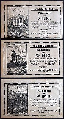 HINTERBRÜHL 1920 Printed on ration cards! Rare POW Austrian Notgeld complete set