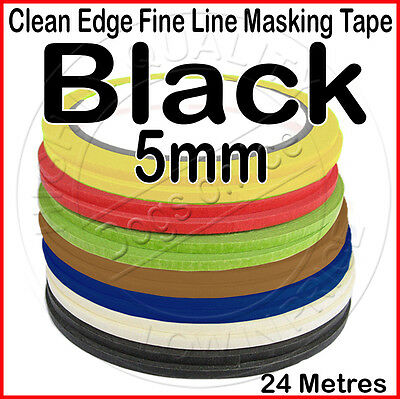 Clean Edge Fine Line Masking Tape 5mm x 24M - BLACK - Paint Models Nails AV - UK